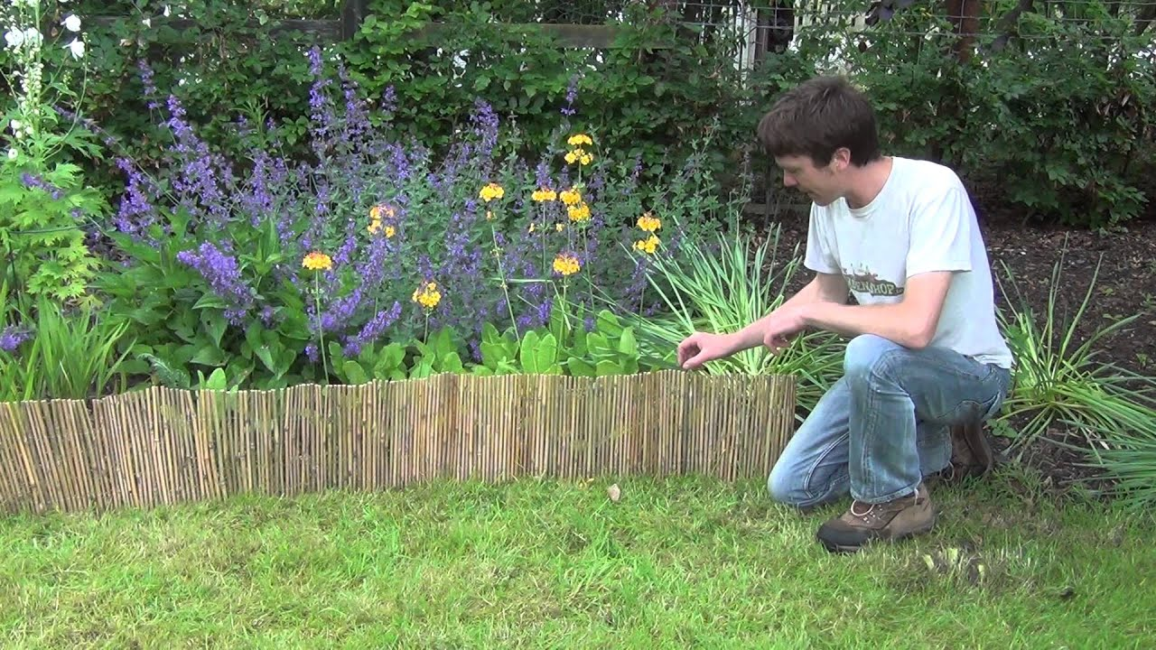 Bamboo Lawn Edging Roll   YouTube