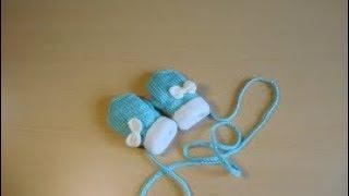 Детские рукавицы на возраст 1-2 года спицами. Мастер-класс.