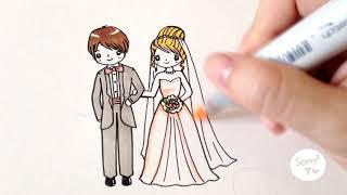 วาดเจ้าบ่าวเจ้าสาว คู่แต่งงานแสนน่ารัก How to draw bride and groom