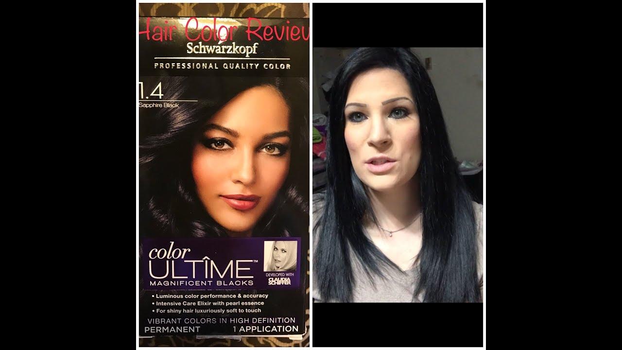 Schwarzkopf Sapphire Black Hair Color Review Nina Gilhousen Youtube