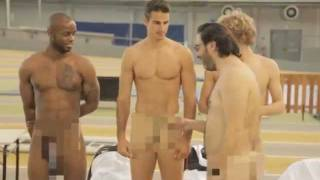 WTF ! 4 French Athletes butt naked durin...