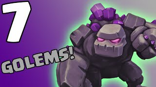 Clash of Clans [HOW TO USE GOLEMS: CALLING ALL UNITS SERIES! 7 GOLEMS ATTACK IN COC!]