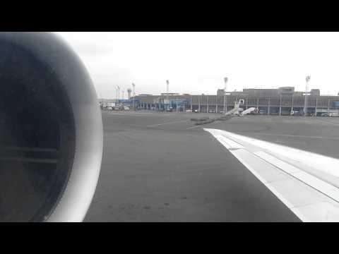 Air Uganda MD-87 Engine Start at Nairobi, Kenya - Window View