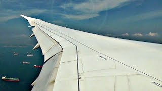 Etihad Airways Boeing 787-9 WINGVIEW APPROACH AND LANDING at Singapore Airport