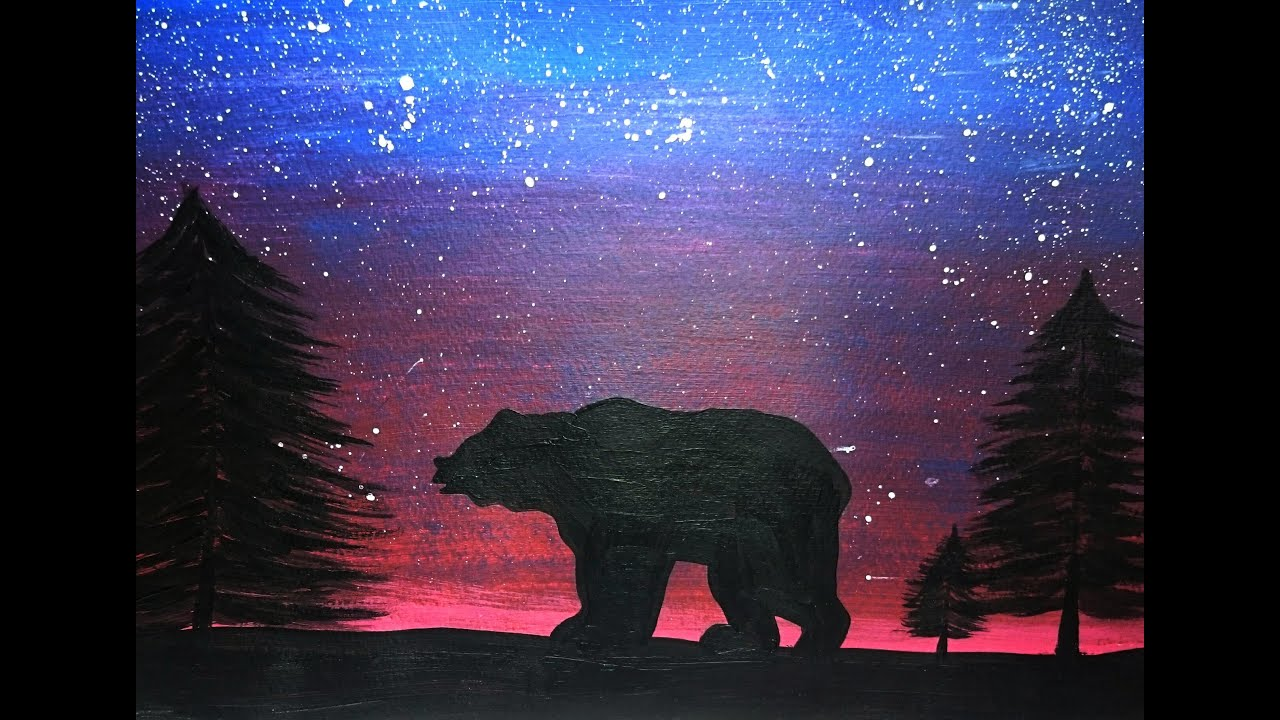 Bear Silhouette Speed Painting Youtube