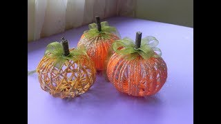DIY Yarn Pumpkin: Easy Pumpkin Craft and Decoration Idea.
