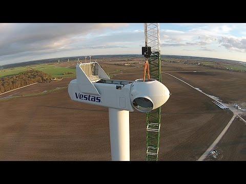 Building A Vestas Wind Turbine Filmed By A Drone