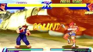 Street Fighter Alpha Anthology - Ryu Single Player Arcade Run - Alpha I - PlayStation 2 - HD