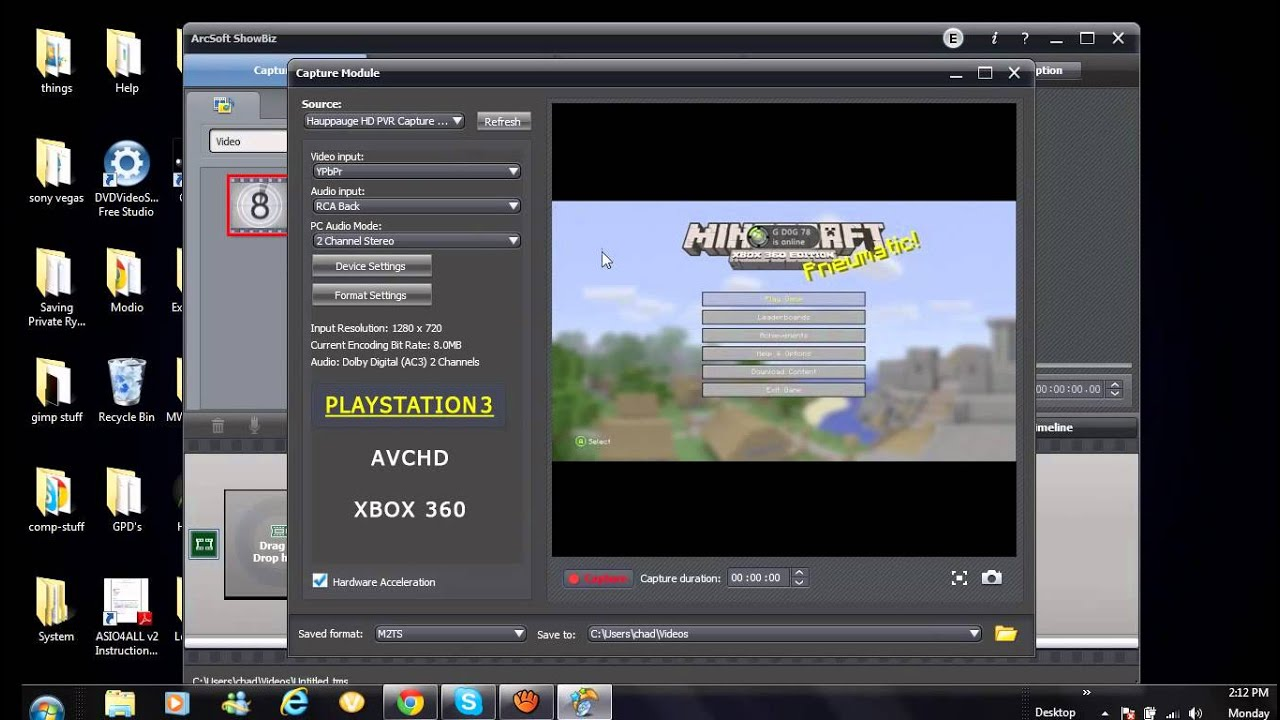 how to record live commentary with hd pvr