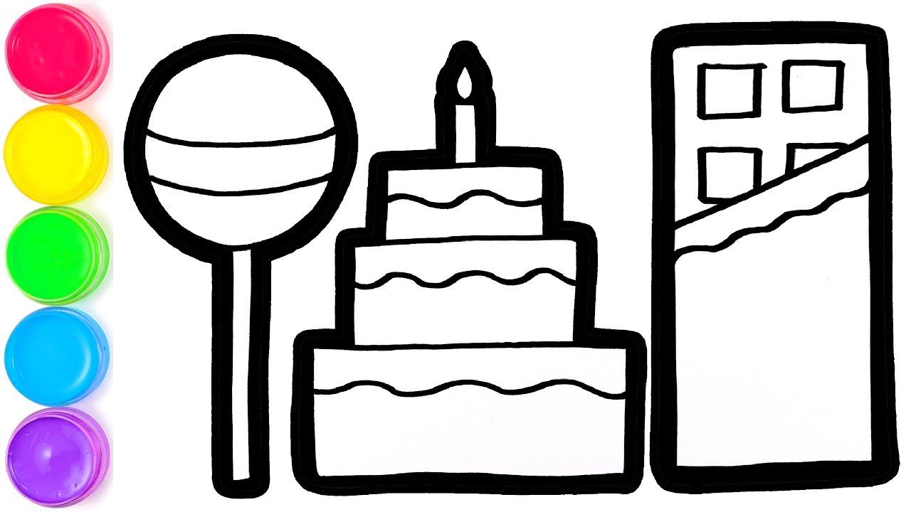 Cara Menggambar Dan Mewarnai Permen Kue Ulang Tahun Dan Coklat