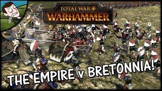 Total War WARHAMMER Gameplay - The Empire v Bretonnia HUGE BATTLE!