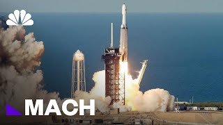 SpaceX Launches Falcon Heavy Rocket On First Commercial Flight | Mach | NBC News