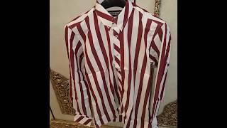 Premium Designer - Stripe Shirt - Pointed Collar - Slim Fit by Fair Deals Store