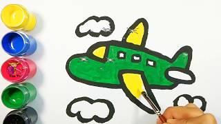Bé tập vẽ và tô màu máy bay | Draw and color the plane