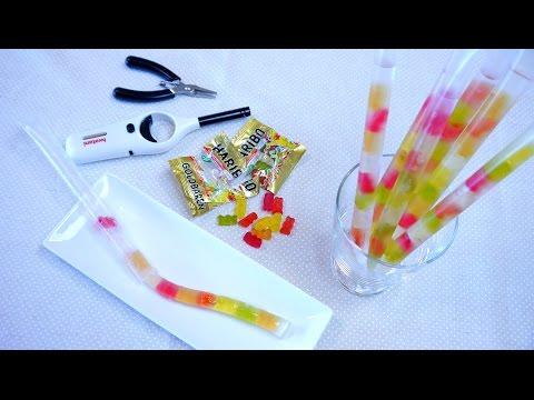 Straw Life Hack: Haribo Gummy Bears Trapped in a Straw ライフハック ハリボーグミをストローにとじこめちゃいました