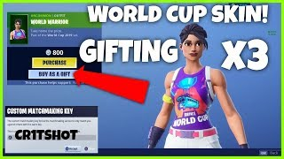 'NEW' GIFTING 3 WORLD CUP SKINS ' FISH STICK // CUSTOMS MATCHES SCRIMS (Fortnite Battle Royale)