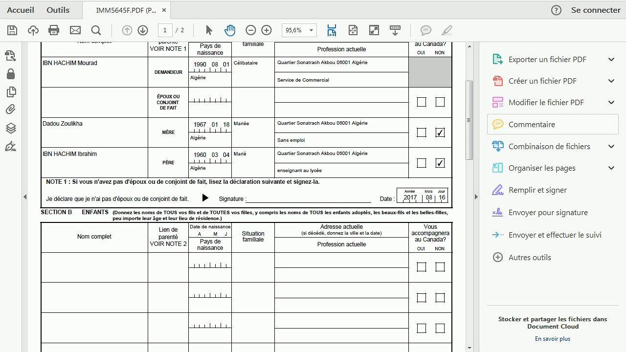 formulaire visa canada imm 5257