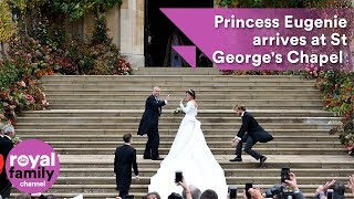 Princess Eugenie arrives at St George's Chapel with Prince Andrew