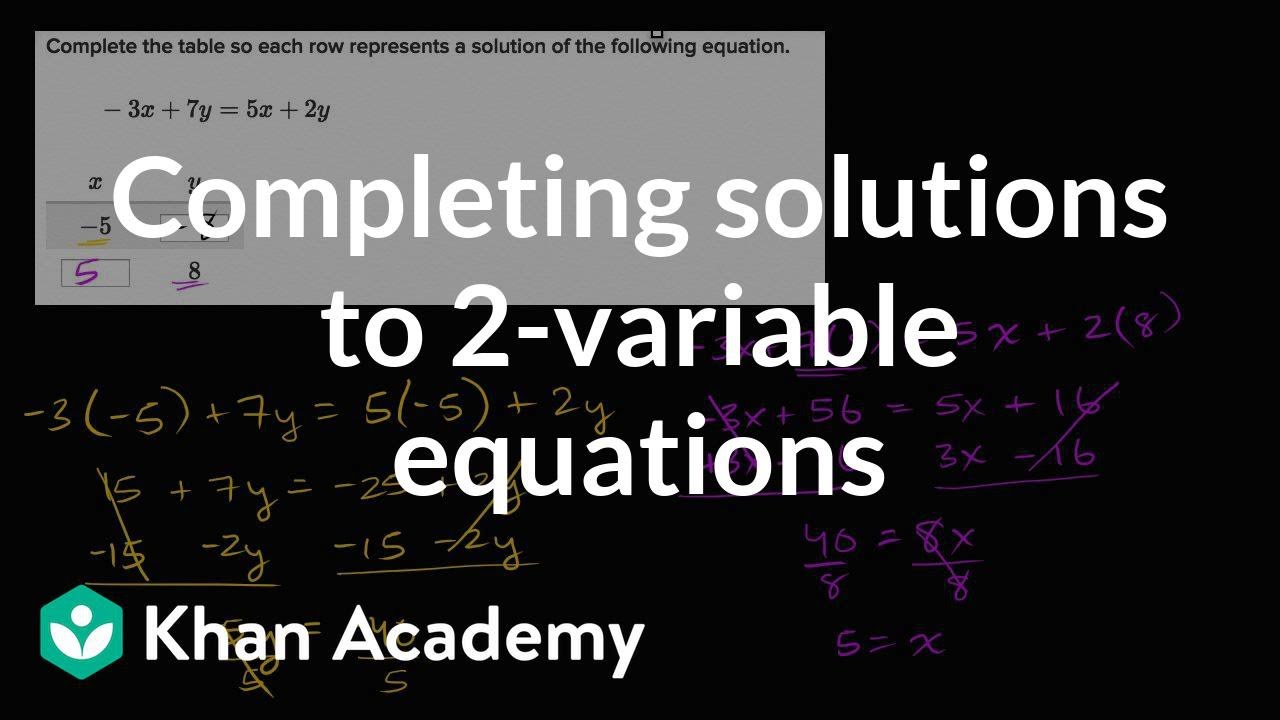 Completing Solutions To 2 Variable Equations Video Khan