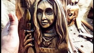 3D портрет. Резьба по дереву. Агния Огонёк. wood carving.portrait
