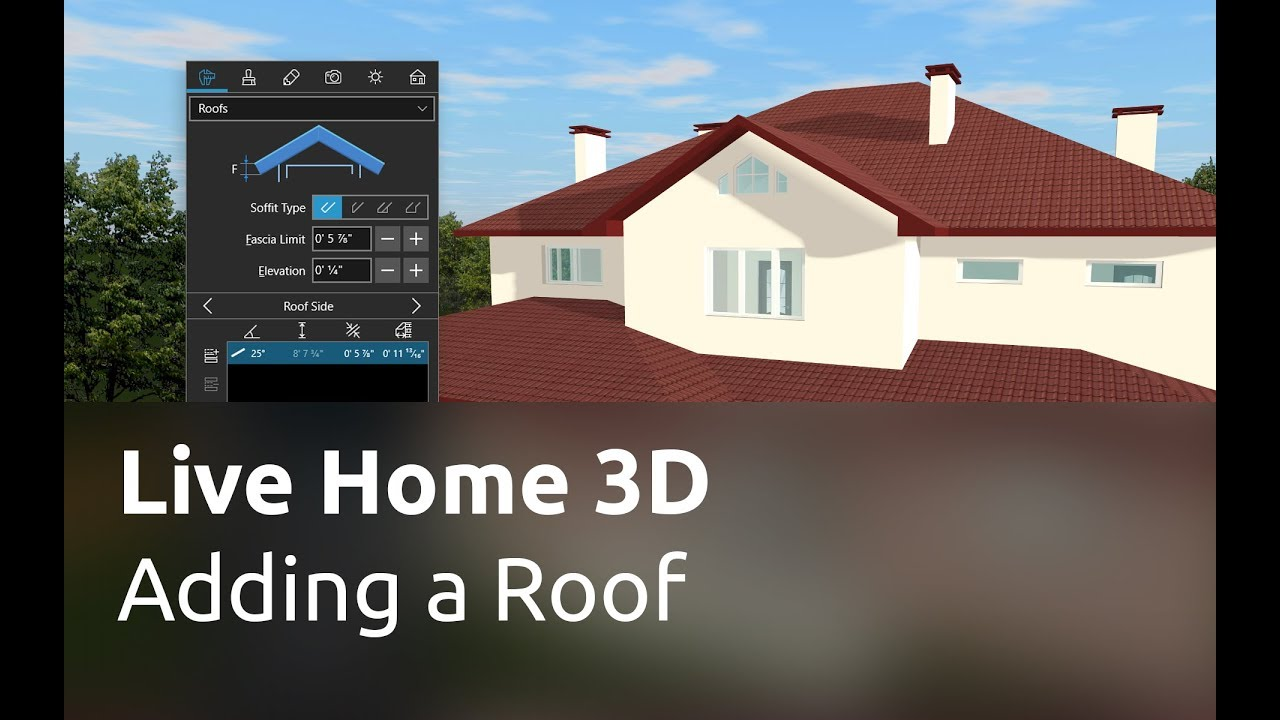 live home 3d for windows tutorials adding a roof youtube. Black Bedroom Furniture Sets. Home Design Ideas