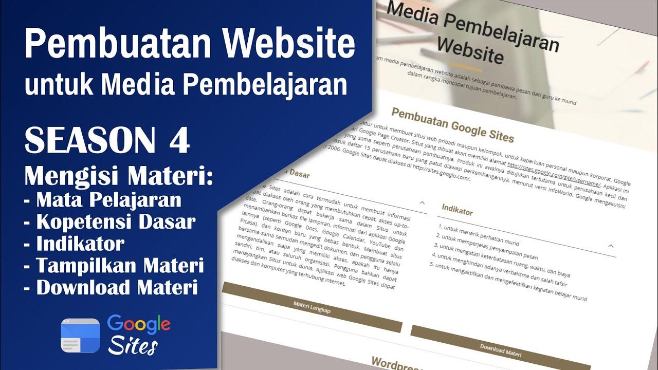 Mengisi Materi Pelajaran, KD, Indikator, Download Materi - Media Pembelajaran Website | Season 4