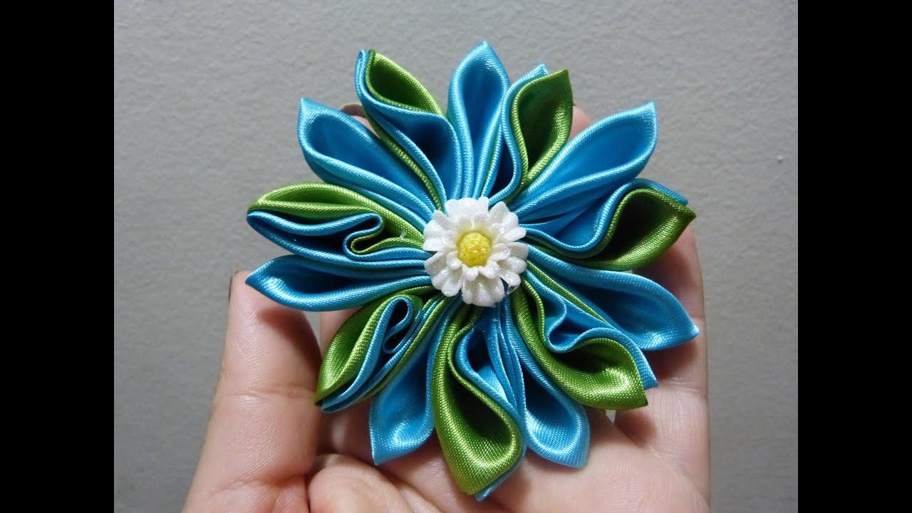 Como hacer flor de tela kanzashi how to make flower diy - Como hacer cuadros de tela ...