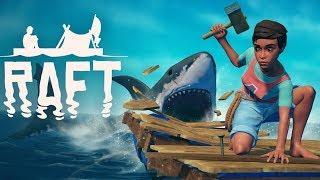 SHARK ATTACKS and RESOURCE HARVESTING! - Raft Gameplay