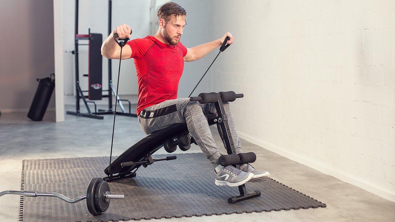 TECTAKE Banc de musculation pliable abdominaux et dorsaux, Banc d'entraînement + 2 Haltères + 2 Cordes d'entraînement