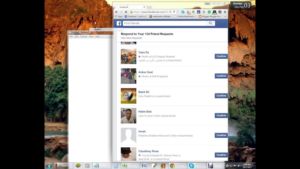 How to auto accept friend recquest on fb Using extension