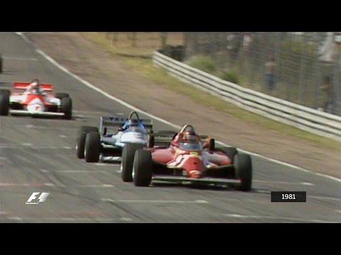 Gilles Villeneuve Holds Off the Pack   1981 Spanish Grand Prix