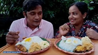 First Time Husband Wife Fana Vat Challenge - Eating Rice with Boil Egg - Fish Fry -Boil Potato & Dal
