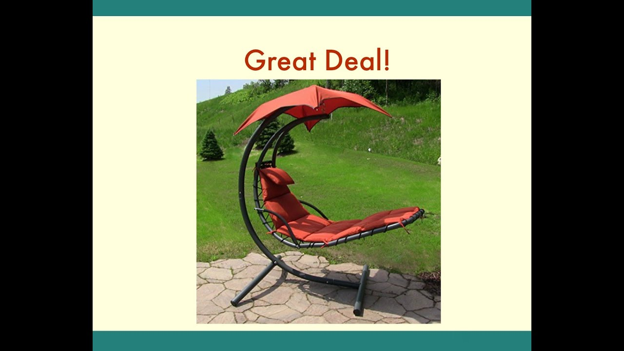 Sunnydaze Floating Chaise Lounger Swing Chair with Canopy 55 Inch Wide - YouTube & Sunnydaze Floating Chaise Lounger Swing Chair with Canopy 55 Inch ...
