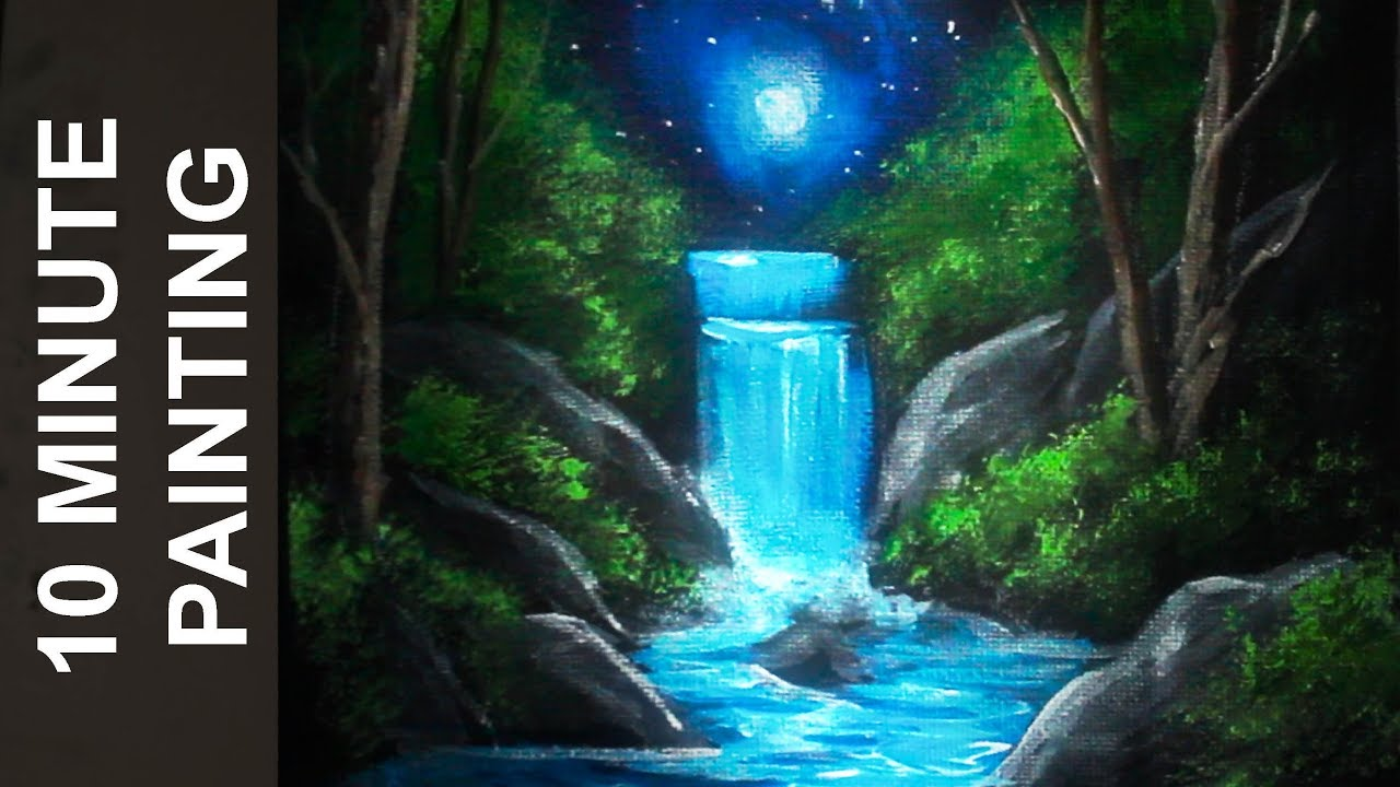 Painting A Moonlit Waterfall Landscape With Acrylics In 10 Minutes Youtube