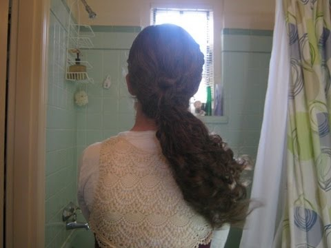 Curly Hairstyle French Braid Headband Bun Ponytail Youtube