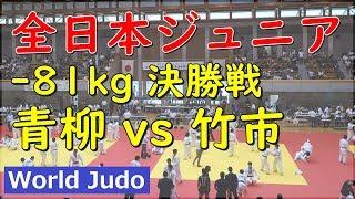全日本ジュニア柔道 2019 81kg 決勝 青柳 vs 竹市 Judo