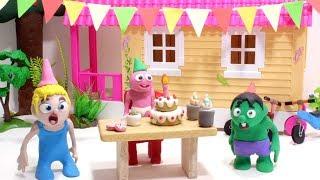 Babygum happy birthday 💕 Superhero Play Doh Stop motion cartoons