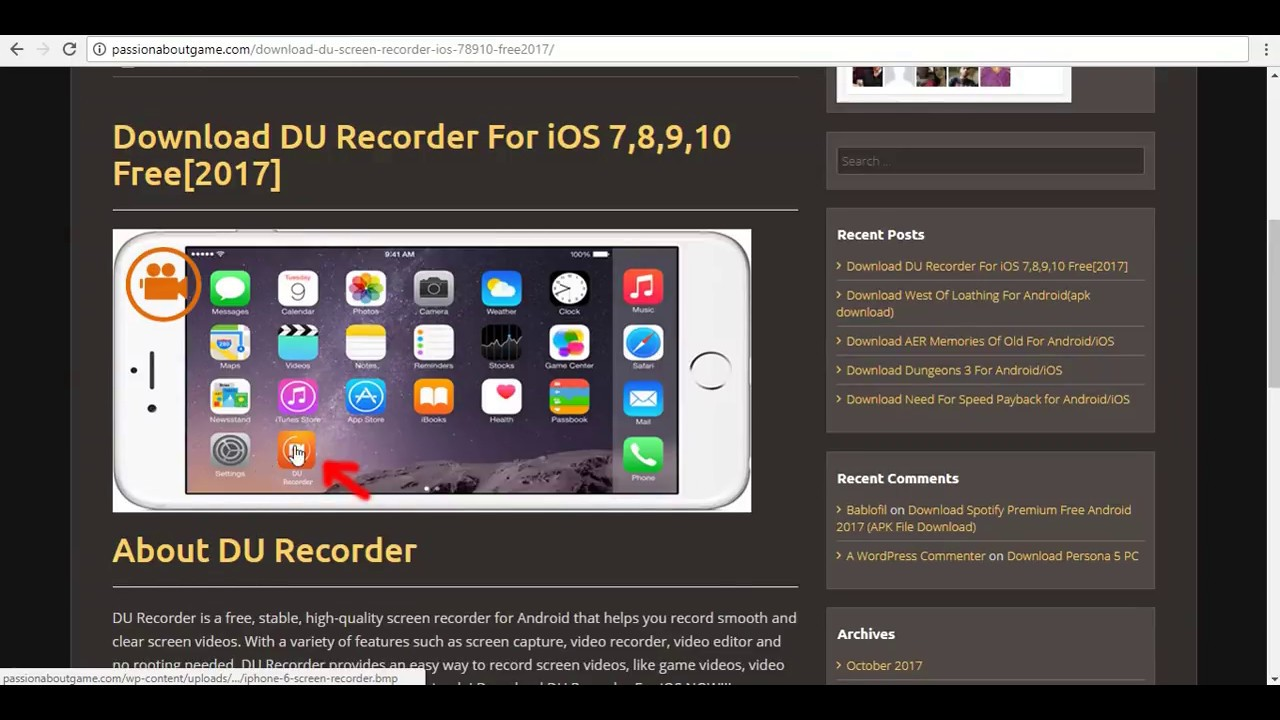 Download Du Recorder For Ios 7 8 9 10 Free 2017 Youtube