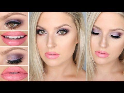 chit chat grwm purple  pink makeup ♡ girly glamorous