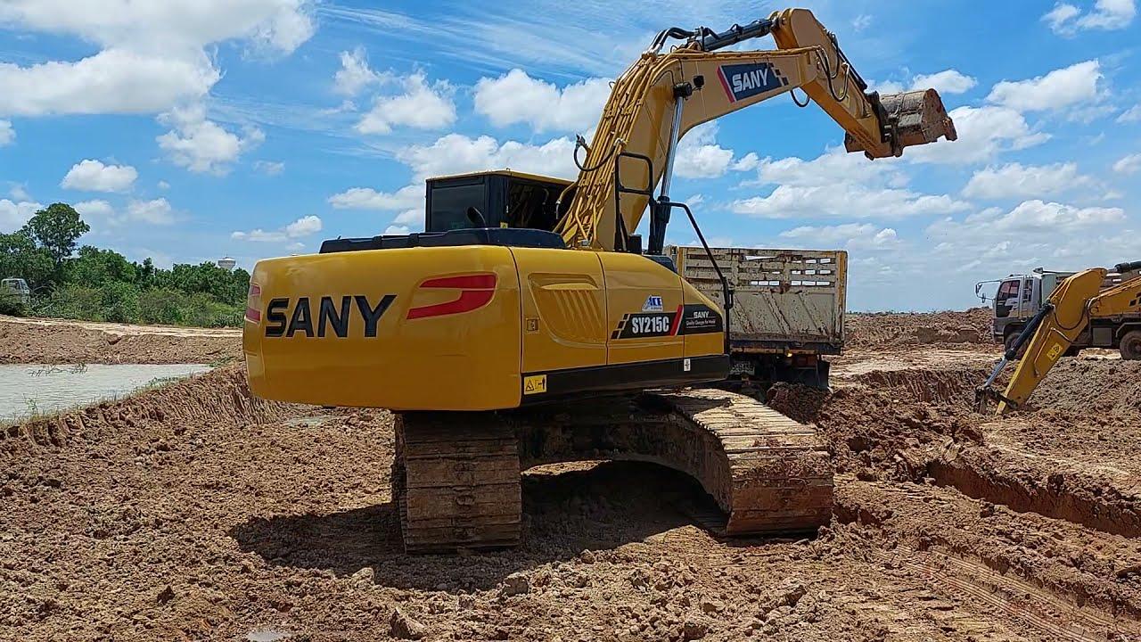 แพคคู่จัดเต็ม SANY SY215C SUPER ACE เปิดบ่อใหม่ จัดเต็มดั้มแรง excavator and truck EP.8492