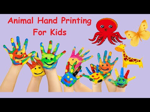 How To Make Hand Print Animals|hand Painting For Kids|easy Tricks Of Drawing For Kids|preschoolers
