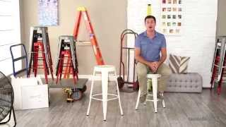 White Round Metal Bar Stools - 2 Piece - Product Review Video