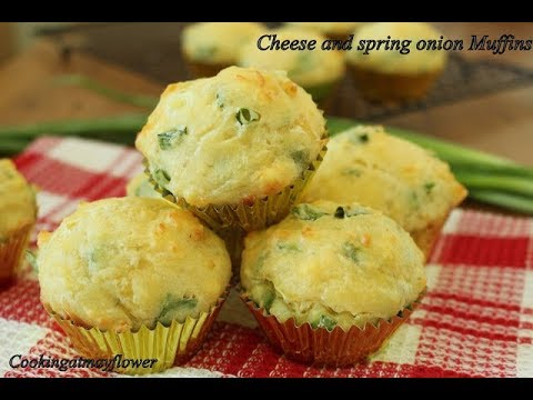 Spring Onion And Cheese Muffin L Savory Muffins Recipe