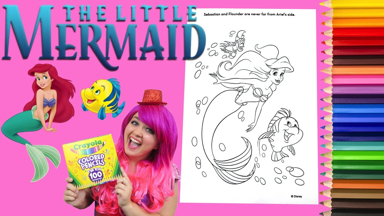 Coloring Ariel The Little Mermaid Disney Coloring Book Page Colored