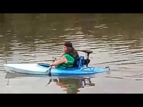 Electric trolling motor on a kayak youtube for Canoe electric trolling motor