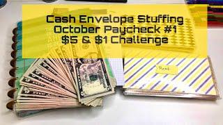 Cash Envelope Stuffing   October Paycheck #1   $5 & $1 Challenge   Budgeting