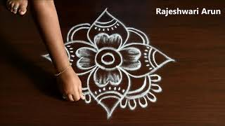 Beginners 4 dots new muggulu designs *Small Muggulu designs *Simple rangoli designs *creative kolam