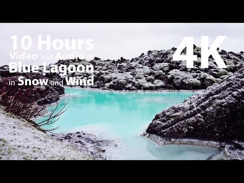 4K HDR 10 hours - Blue Lagoon in Snow with Wind audio, version 2 - relaxing, gentle, calming