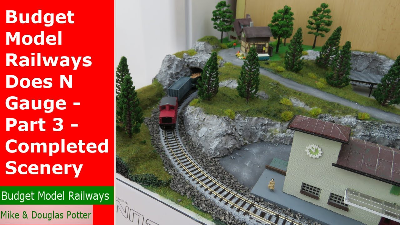 Budget Model Railways Does N Gauge - Part 3 - Completed Scenery, Trees, Static Grass & Rock Faces