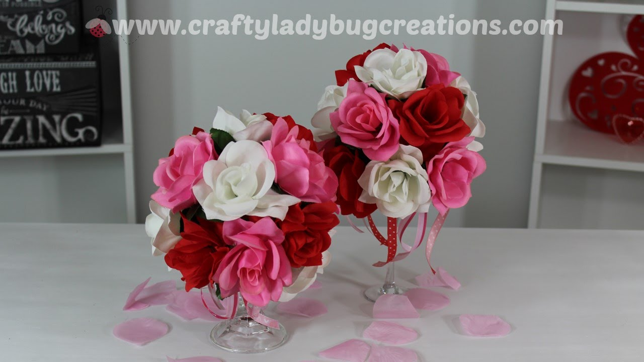Valentine\'s Day Flower Arrangement/Bouquet by Crafty Ladybug - YouTube